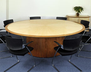 large circular boardroom table