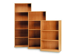 open storage with fixed shelves