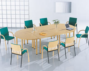 d-end modular meeting table layout