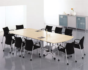 d-end flip-top frame meeting table layout