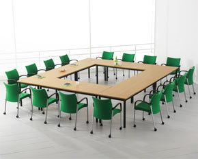 folding frame meeting table layout